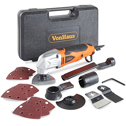 VonHaus 280W Oscillating Multitool   Detail Sander   Precision Cutter   Scraper   Grinder - 10,000-21,000 Variable Speed Control - 15pc Accessory Kit - Sanding Pads, Dust Extraction, Storage Case - 220-240V Corded Compact Design