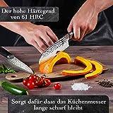Kirosaku Premium Santoku Messer Damast 18cm - Enorm scharfes Santoku Japan Kochmesser aus hochwertigem Damaszener Stahl - Damastmesser Küchenmesser für ein fantastisches Schnitt Erlebnis - 3