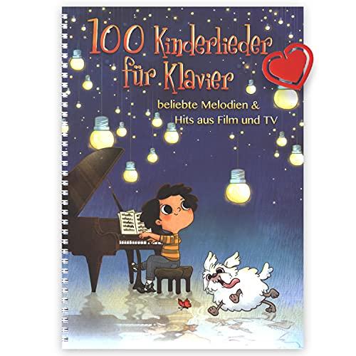 100 Kinderlieder für Klavier- beliebte Melodien & Hits aus Film und TV Noten, Songbook für Klavier - mit herzförmiger Notenklammer - ISBN: 9783954561971