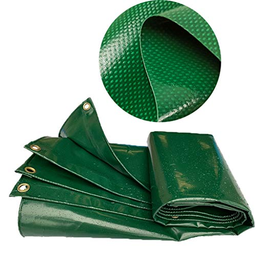 Lonas impermeables e ignífugas, Lona de espesor 17 mil, Resistente a los rayos UV, Lona a prueba de roturas, rasgaduras y rasgaduras con ojales y bordes reforzados, Verde (Size : 2X3m/6.5'x9.8')