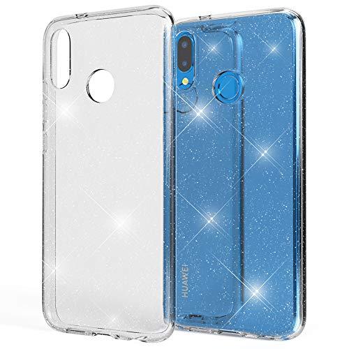 NALIA Custodia Glitter compatibile con Huawei P20 Lite, Ultra-Slim Cellulare Silicone Gomma Cover Protettiva, Morbido Sottile Telefono Protezione Gel Case, Bumper per Smartphone, Colore:Trasparente