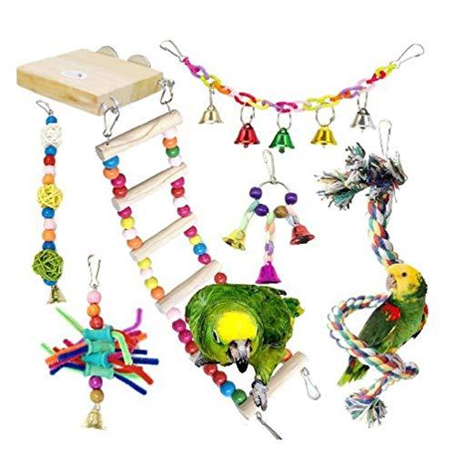 7 unids colorido loro madera columpio juguetes aves escalada escalera juguete hamaca masticar juguetes aves juguetes para cacatúas loro juguetes masticar