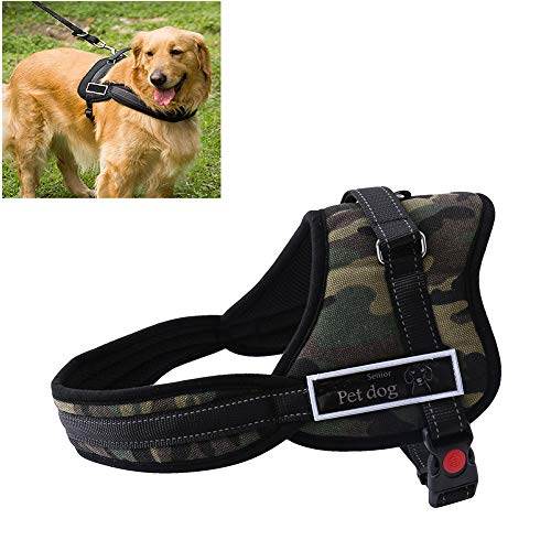 Lhh No Pull Dog Harness Puppy Vest Dogs Harnesses Front Clip Pet Chest Strap with Handle, Reflective, Adjustable, Breathable Soft Mesh, Easy Control,A,M