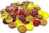 mesbilles MisCanicas - 500 gr Mezcla de ámbar 120 Canicas de Vidrio Planas 20 mm Piedras Decorativas