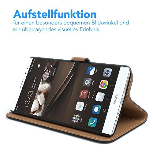 EAZY CASE Tasche kompatibel mit Huawei Mate 8 Schutzhülle mit Standfunktion Klapphülle im Bookstyle, Handytasche Handyhülle Flip Cover mit Magnetverschluss und Kartenfach, Kunstleder, Schwarz - 4