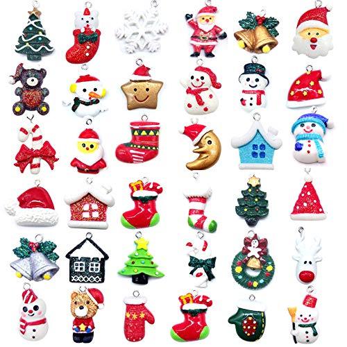 36 PCS Mini Resin Christmas Ornaments-Micro Landscape Ornament Decoration for Mini Christmas Tree and DIY Fairy Garden Dollhouse Desktop Decoration