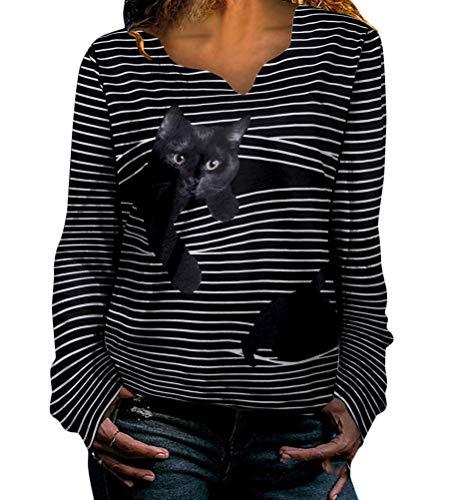 shownicer Damen Sweatshirt Langarmshirt Mit Katzenmotiv Tierdruck Oberteile Herbst Winter Rundhals Bluse Casual Loose Pullover Shirts Hemd Stil 1 3XL