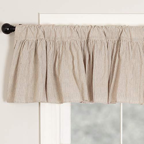 "Sara's Ticking Ruffled Valance Curtain, 72"" W x 16"" L, Black & Cream Mini Mini Stripe, Vintage Farmhouse, Country Cottage Window Valance"