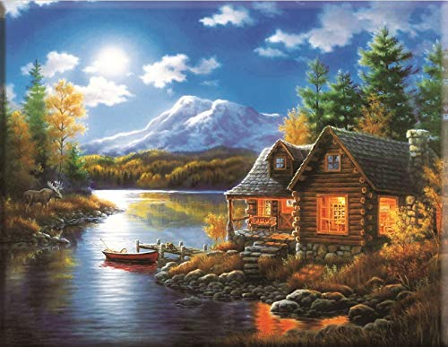 Yminng Landscape Daimond Painting Mosaic House Diamond Painting 5D Full Cross-Stitch Diamond Paiting Full Drill - Round Drill,20x30cm
