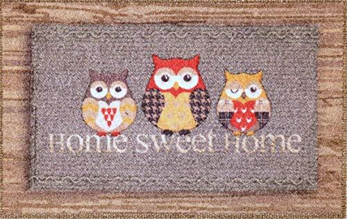 Felpudo de oKu-Tex | Felpudo Deco-Soft Entrance | búhos Home Sweet Home | impresión | para Interior | Entrada / Puerta de casa / escaleras | Antideslizante | 40 x 60 cm