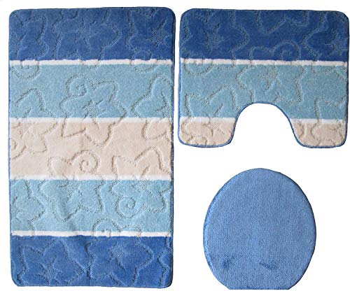 Megaprom 3 TLG. Stand-WC Badgarnitur Badezimmergarnitur Badematten Badteppich WC-Vorleger mit WC-Deckelbezug Set (ÖKO-TEX Standard 100) (Blau/Hellblau)