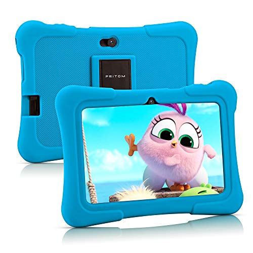 Pritom 7 inch Kids Tablet | Quad Core Android,1GB RAM+16GB ROM | WiFi,Bluetooth,Dual Camera | Educationl,Games,Parental Control,Kids Software Pre-Installed with Kids-Tablet Case (Light Blue)
