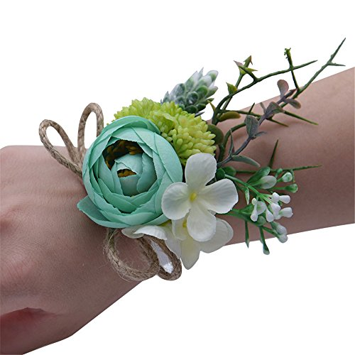 MOJUN Tea Rose Bridal Wristband Wrist Flower Corsage for Prom Party Wedding, Pack of 4, Turquoise