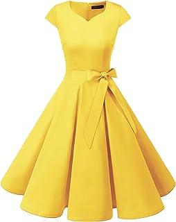 DRESSTELLS Women`s Vintage Tea Dress Prom Swing Cocktail Party Dress with Cap-Sleeves