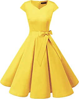 Women's Vintage Tea Dress Prom Swing Cocktail Party Dress with Cap-Sleeves