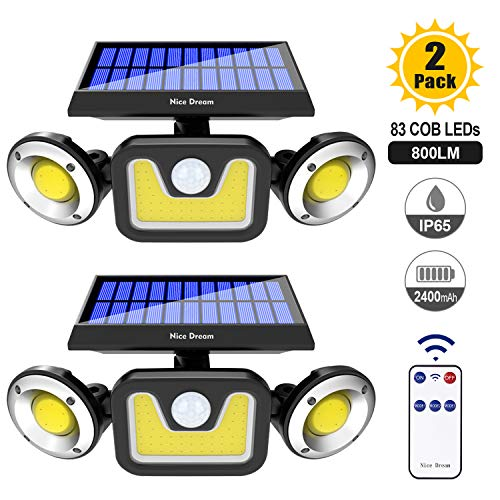 Solar Lights Outdoor with Motion Sensor, 3 Heads Security Lights with Remote Control, 83 LEDs Flood Light Outdoor, Motion Detected Spotlights for Garage Yard Patio, IP65 Waterproof (2 Packs)