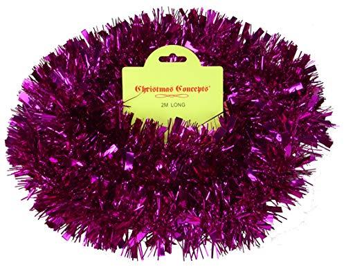 Christmas Concepts 2 Meter Chunky/Fine Weihnachts Tinsel- Weihnachtsdekoration (Pink)
