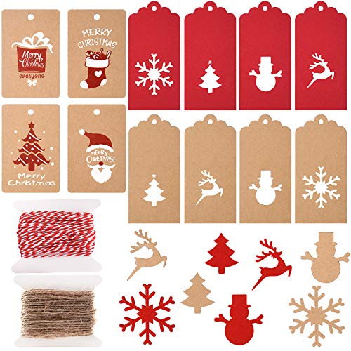 TUPARKA 200 Piezas 12 Estilos Etiquetas de Papel de Navidad Etiquetas de Regalo de Kraft Etiquetas Colgantes Árbol de Navidad Elk para DIY Etiqueta Paquete Nombre Tarjeta