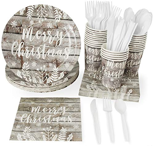 Merry Christmas Wood Plank Dinnerware Set, Paper Plates, Plastic Cutlery, Cups, and Napkins (Serves 24, 144 Pieces)