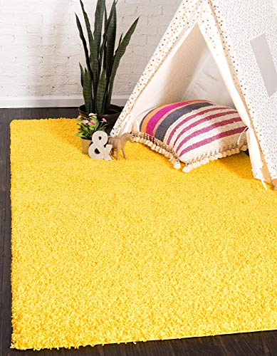 Unique Loom Solo Solid Shag Collection Modern Plush Tuscan Sun Yellow Area Rug (8' 0 x 10' 0)