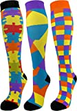 3 Pair Premium Quality Colorful Moderate Graduated Compression Socks 15-20 mmHg. Nurses, Running, Travel, Knee-High, Mens and Womens Style (Multi Color, Large/X-Large)