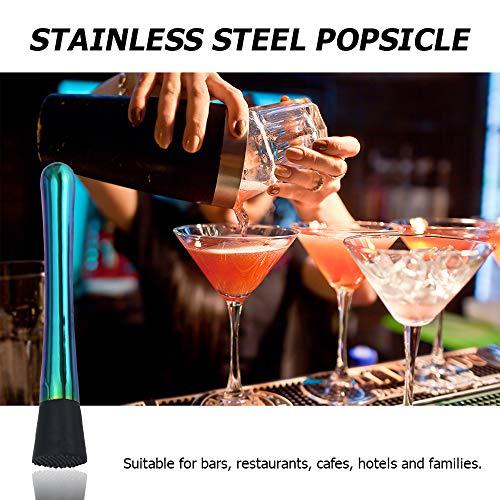 Xkfgcm Cocktailstößel Barstößel für Große Gläser Cocktail-Stößel aus Edelstahl Zerstößt Limetteneiswürfel Dank Rauer Unterseite Für Eisbrecherzubehör 2 Weinstößel Rutschfesten - 6
