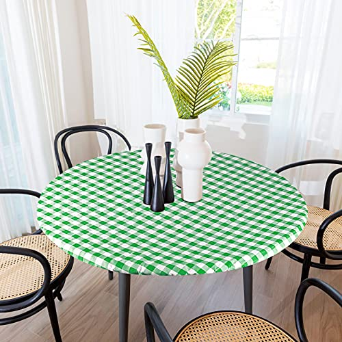 Sorfey Indoor/Outdoor Vinyl Elastic Edge Fitted Tablecloth Cover. Checkered Design, Flannel Backed Leak Proof Lining, Easy to Clean. Stretched to Fit 30 Inch Round Table, Green