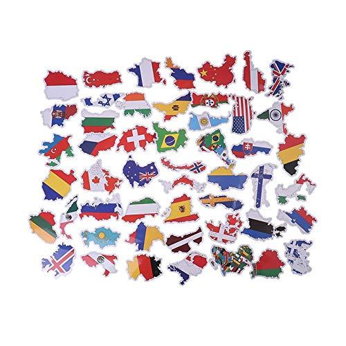 BLOUR 50 unids/Pack Pegatinas de Banderas Nacionales DIY álbum de Recortes Maleta portátil Mapa del país PegatinaPersonalizada Coche pequeña decoración
