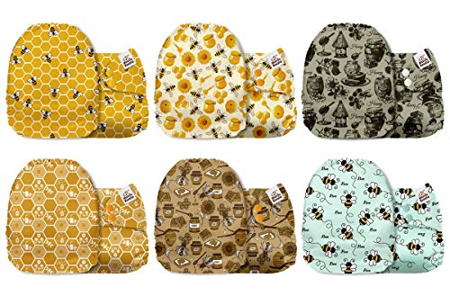 Mama Koala One Size Baby Washable Reusable Pocket Cloth Diapers, 6 Pack with 6 One Size Microfiber Inserts(Busy Bees)