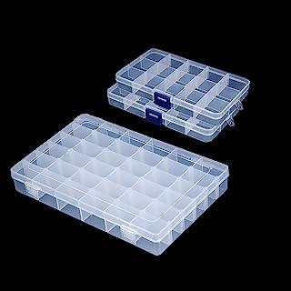 Snowkingdom جعبه پلاستیکی جعبه ذخیره ساز برای جمع آوری نمایش با جدا کننده قابل تنظیم - 3 پک (1 پچ 36 شبکه + 2 پیک 15 شبکه) - تابلو رایگان نامه