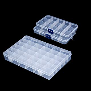 Snowkingdom Plastic Grid Box Storage Organizer Case for Display Collection with Adjustable Dividers - 3 Pack (1pc 36 Grids + 2pc 15 Grids) - Free Letter Stickers