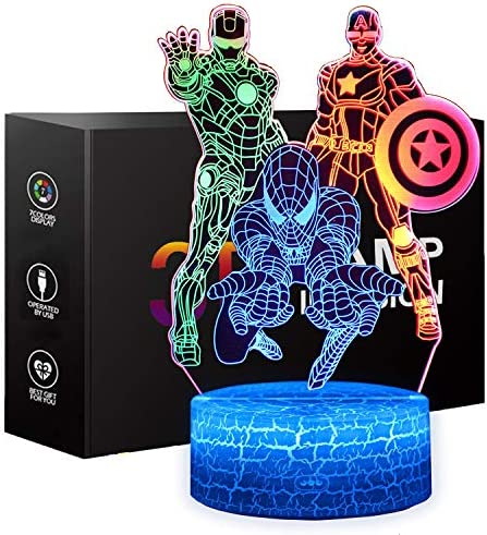 Spiderman Toys Night Light for Kids XXMANX 3D Illusion Lamp Touch Control Dynamic Colors Changing product image