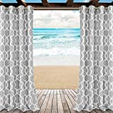 LORDTEX Moroccan Print Indoor/Outdoor Curtains for Patio, Pergola, Porch, Deck, Lanai, and Cabana - 2 Panels Waterproof Sun Light Blocking Grommet Top Curtain Panel, 52 x 95 Inch, Cloud Grey