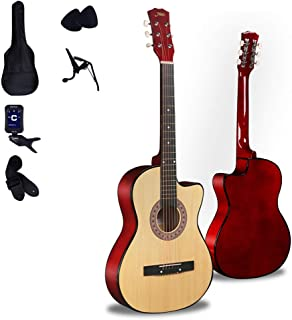 $171 » Loivrn Guitar Corner Ballad Wood Guitar Beginner Entry Instrument 38 Inch Wood Color Handmade Elm Hole Acoustic Piano String Guitar Starter Kit with Piano Bag, Tuner, String, Belt, Pick