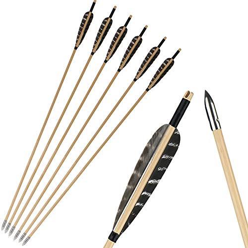 IRQ Holzpfeile Bogenschießen Fasan Truthahnfeder Jagdpfeile Übungsziel Befiederung Pfeile Silber Pfeilspitze Für traditionellen Recurve-Bogen oder Langbogen
