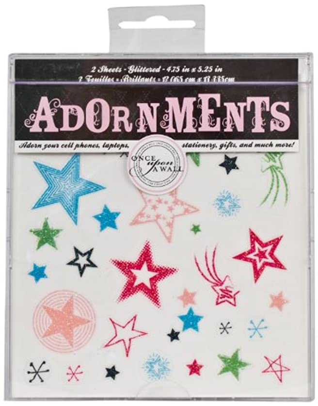 Die Cuts With A View Adornment Glitter Stars Pink/Blue/Green/Black Peel & Stick, 2 Sheets xyfuyncjro63633