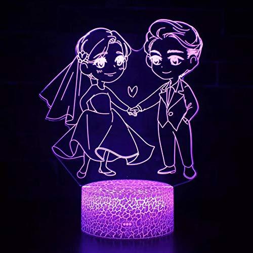 Tomados de la mano parejas luz de visión 3D multicolor base agrietada luz led decoración de base táctil luz de noche pequeña lámpara de mesa pequeña regalo de boda