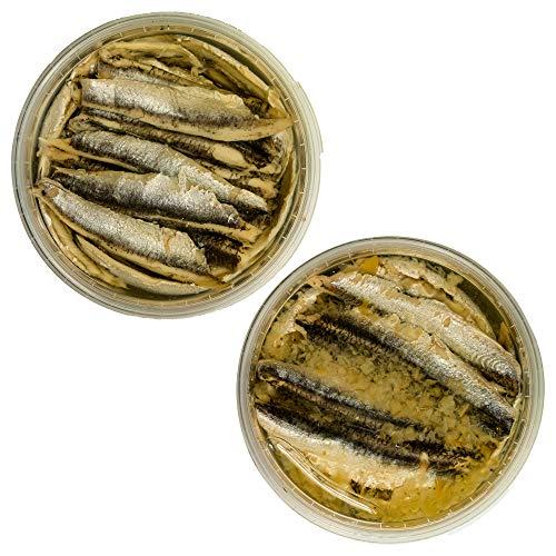 Food-United Fisch-Set – SARDELLEN-FILETS - 2 x 280g - Duo aus Sardellen in Sonnenblumen-Öl & in Zitrone für Anchovis-Boquerone-Pizza-Pasta-Nudeln-Antipasti-Salat saftig-zart