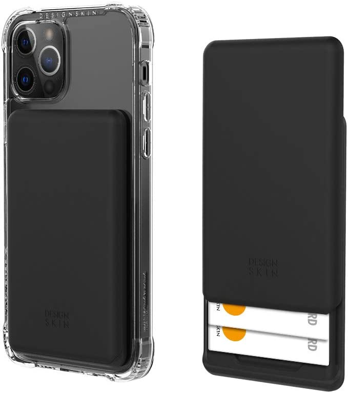 Design Skin Stick-on Sliding Card Holder, Universal Cell Phone Wallet Case with Hidden Card Slot, Compatible with All Smartphones - Black (ITM17343)
