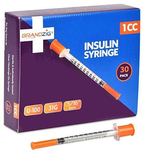 "Brandzig Ultra-Fine Insulin Syringes 31G 1cc 5/16"" 30-Pack"