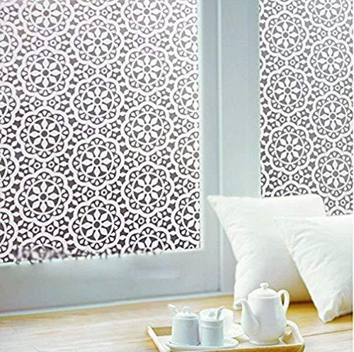 75 * 200 Cm Decoratieve raamfolie Witte bloem Statisch vastkleven Privacy Deurfolie, niet-klevend/verwijderbaar/hittebestrijding/anti-UV, afmeting 75x200 cm