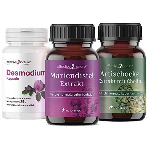 Effective Nature Leberreinigung Set mit 3 Naturprodukten - Desmodium Blattextrakt, Mariendistel Extrakt, Artischockenextrakt - Natürlicher Schutz der Leber