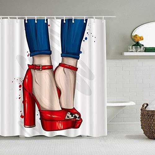 Duschvorhang-Schuhe, lang, schmale Beine, enge Hosen, High Heels, modische Schuhe, wasserdicht, Badeeinlagen, Haken im Lieferumfang enthalten – Badezimmer-Deko-Ideen