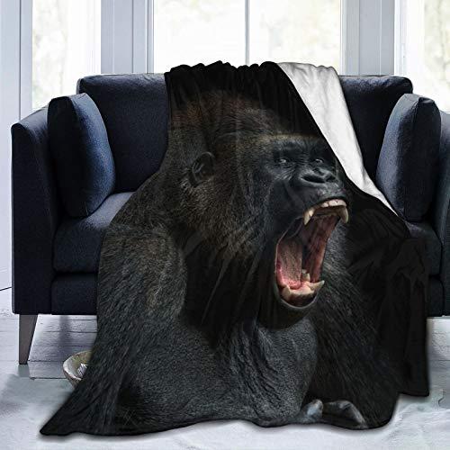 XWJZXS5 FlannelFleeceBedBlanketsLightweightCozyThrowBlanketforCouchSofaBedroomAdultsKids,Animal Ape Monkey Gorilla Silverback Teeth Portrait Close-up Mountain Africa Emotions,60'X 50'