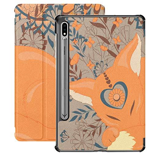 Funda Galaxy Tablet S7 Plus de 12,4 Pulgadas 2020 con Soporte para bolígrafo S, Funda Protectora Tipo Folio con Soporte Fino Fox S Flowers para Samsung