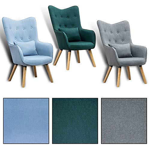 Estexo Home and Garden Fernsehsessel TV Sessel Lounge Relaxsessel Polstersessel Lesesessel Stoff Kissen (Hellblau)