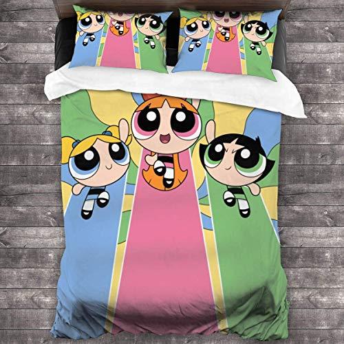 Yuanmeiju The Powerpuff Girls Four Seasons Duvet Cover Set Quilt Cover (1 Duvet Cover 2 Pillowcases) 3 Piece Bedding Set 86' X70