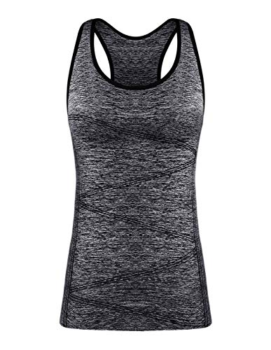 DISBEST Yoga Tank Top, Women's Performance Stretchy Quick Dry Sports Workout Running Top Vest with Removable Pads (Black, Medium)