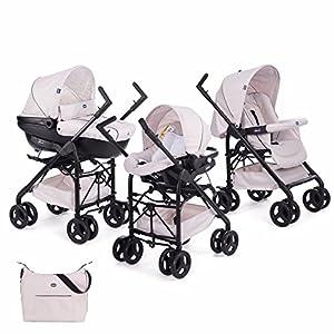 Chicco Trio Sprint Carrito de Bebé 3 Piezas con Sistema de Viaje Modular Apto de 0 a 36 Meses, Sillita de Paseo con Capazo y Silla para Coche, Ligera, Plegable y Compacta, Color Beige (Sandshell)