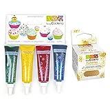 4 colorantes alimentarios líquidos azul, rojo, amarillo, verde + Brillo dorado comestible